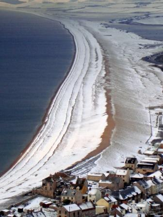 Chesil Beach in the snow